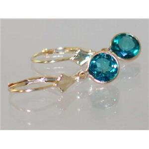 E011, Paraiba Topaz, 14k Gold Earrings