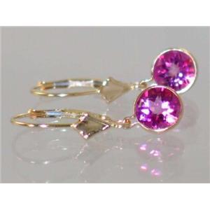 E011, Pure Pink Topaz, 14k Gold Earrings