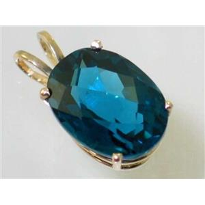 P080, London Blue Topaz 14k Gold Pendant