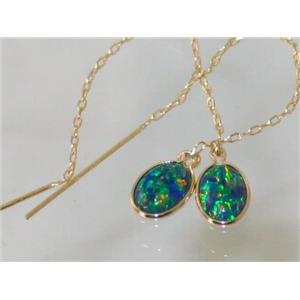 E005, Created Blue/Green Opal, 14k Gold Earrings