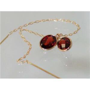 E005, Mozambique Garnet, 14k Threader Earrings