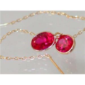 E005, Created Ruby, 14k Gold Threader Earrings