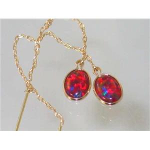 E005, Created Red/Brown Opal, 14k Gold Earrings