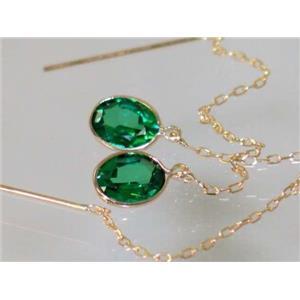 E005, Russian Nanocrystal Emerald, 14k Gold Earrings