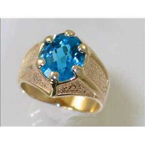 R234, Swiss Blue Topaz Gold Men's Ring
