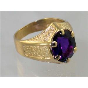 R234, Amethyst Gold Men's Ring