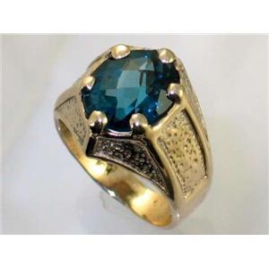 R234, London Blue Topaz Men's, Gold Ring