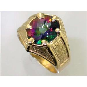 R234, Mystic Fire Topaz Men's, Gold Ring