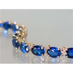 B002, Created Blue Sapphire Gold Bracelet