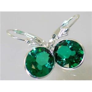 SE201, Russian Nanocrystal Emerald, SS Leverback Earrings, 11 cts