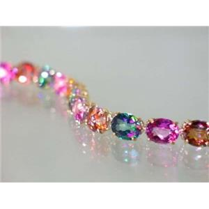 B003, Pink, Twilight & Mystic Topaz Gold Bracelet