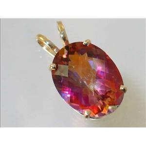 P080, Twilight Fire Topaz 14k Gold Pendant