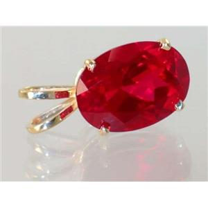 P084, Created Ruby 14k Gold Pendant