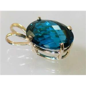 P084, London Blue Topaz 14k Gold Pendant