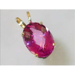 P084, Pure Pink Topaz 14k Gold Pendant