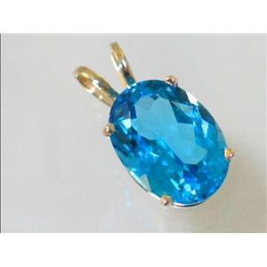 P084, Swiss Blue Topaz 14k Gold Pendant
