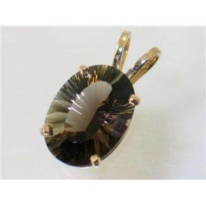 P084, Smoky Quartz 14k Gold Pendant