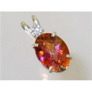 SP019, Twilight Fire Topaz 925 Sterling Silver Pendant