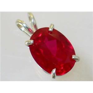 SP004, Created Ruby, 925 Sterling Silver Pendant