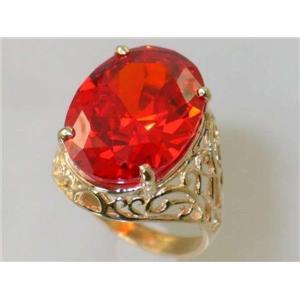 R291, Padparadsha CZ, Ladies Gold Ring