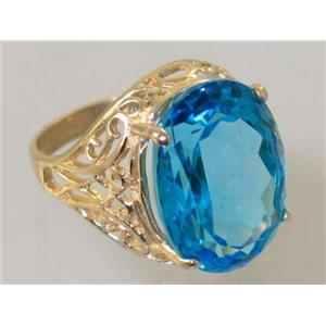 R291, Swiss Blue Topaz, Gold Ring