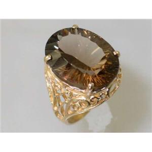 R291, Smoky Quartz, Gold Ring