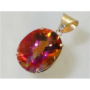 P082, Twilight Fire Topaz 14k Gold Pendant