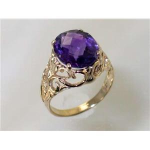 R114, Amethyst, Gold Ring