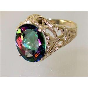 R114, Mystic Fire Topaz, Gold Ring