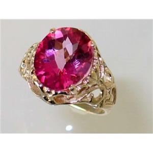 R114, Pure Pink Topaz, Gold Ring