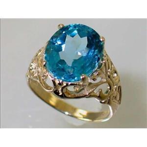 R114, Swiss Blue Topaz, Gold Ring