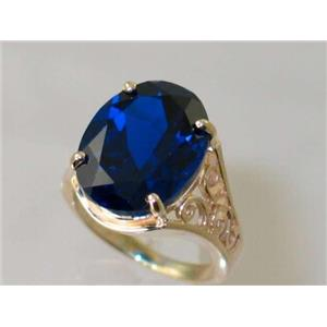 R049, Created Blue Sapphire, Gold Ring