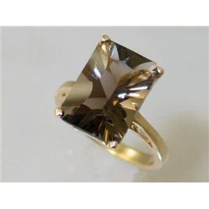 R189, Smoky Quartz, Gold Ring