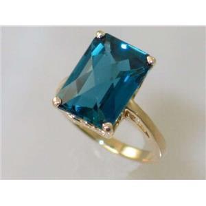 R189, London Blue Topaz, Gold Ring