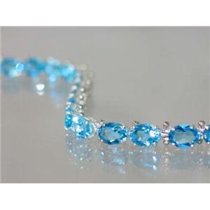 SB002, Swiss Blue Topaz, 925 Sterling Silver Bracelet