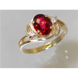 R176, Crimson Topaz, Gold Ring
