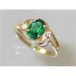R176, Russian Nanocrystal Emerald, Gold Ring