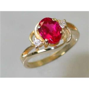 R176, Created Ruby, Gold Ring