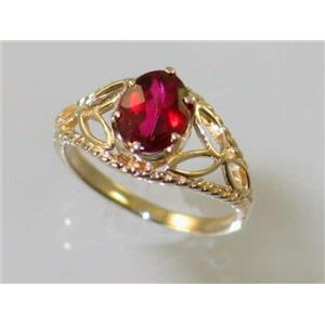 R137, Crimson Topaz, Gold Ring