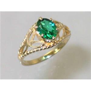 R137, Russian Nanocrystal Emerald, Gold Ring