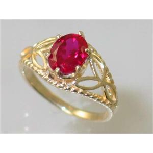 R137, Created Ruby, Gold Ring