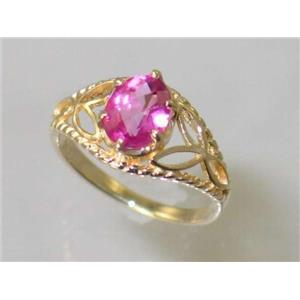 R137, Pure Pink Topaz, Gold Ring