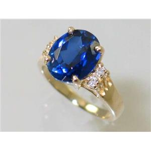 R123, Created Blue Sapphire, Gold Ring