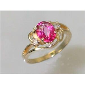 R176, Pure Pink Topaz, Gold Ring