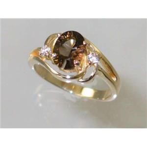 R176, Smoky Quartz, Gold Ring