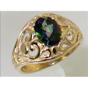 R111, Mystic Fire Topaz, Gold Ring