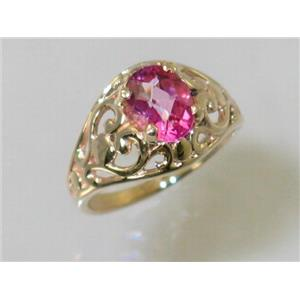 R111, Pure Pink Topaz, Gold Ring