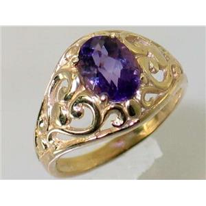 R111, Amethyst, Gold Ring