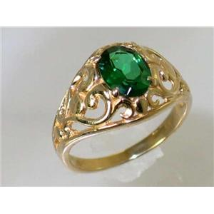 R111, Russian Nanocrystal Emerald, Gold Ring