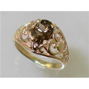 R111, Smoky Quartz, Gold Ring